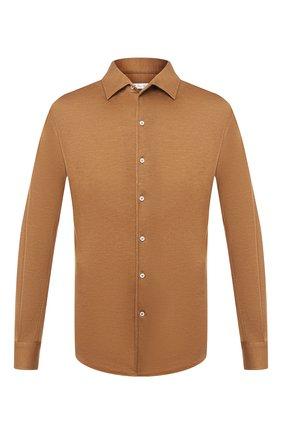 Мужская рубашка из кашемира и шелка LORO PIANA светло-коричневого цвета, арт. FAL3195 | Фото 1