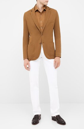 Мужская рубашка из кашемира и шелка LORO PIANA светло-коричневого цвета, арт. FAL3195 | Фото 2