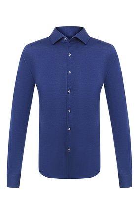 Мужская рубашка из кашемира и шелка LORO PIANA синего цвета, арт. FAL3195 | Фото 1
