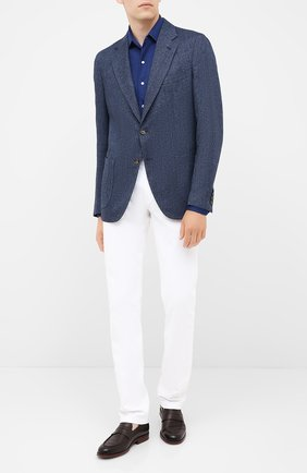 Мужская рубашка из кашемира и шелка LORO PIANA синего цвета, арт. FAL3195 | Фото 2