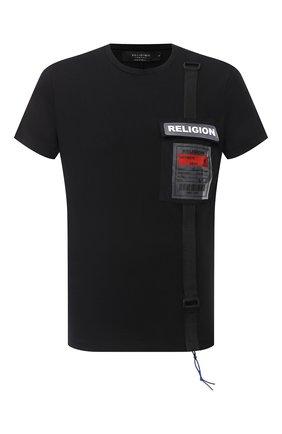 Мужская хлопковая футболка RELIGION черного цвета, арт. 10T0FF02 | Фото 1