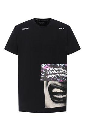 Мужская хлопковая футболка RELIGION черного цвета, арт. 10BTWG95 | Фото 1