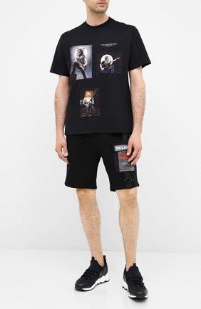 Мужская хлопковая футболка NEIL BARRETT черного цвета, арт. PBJT805S/P523S | Фото 2