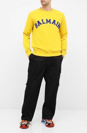 Мужской хлопковые брюки-карго NEIL BARRETT черного цвета, арт. PBPA805/P008 | Фото 2