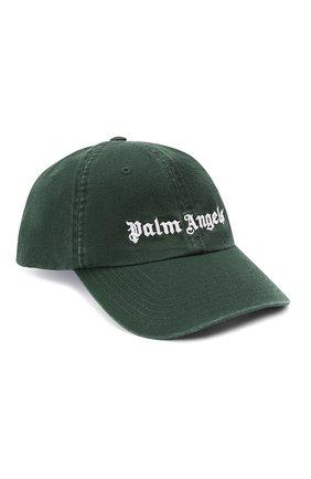 Мужской хлопковая бейсболка PALM ANGELS темно-зеленого цвета, арт. PMLB003E20FAB0065701 | Фото 1