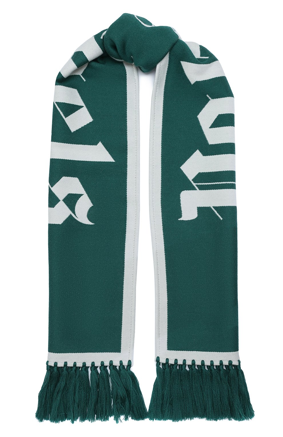 Мужской шарф из шерсти и хлопка PALM ANGELS зеленого цвета, арт. PMMA011E20KNI0015501 | Фото 1