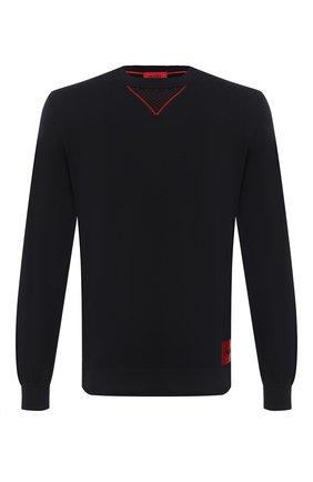 Мужской хлопковый джемпер HUGO черного цвета, арт. 50430503 | Фото 1
