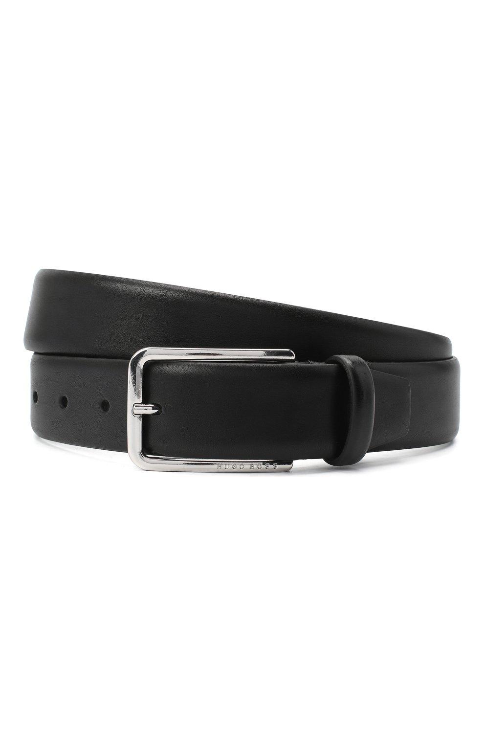 Мужской кожаный ремень BOSS черного цвета, арт. 50435213   Фото 1