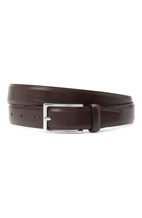 Мужской кожаный ремень BOSS темно-коричневого цвета, арт. 50408103 | Фото 1