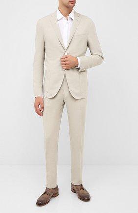 Мужская льняная сорочка BOSS белого цвета, арт. 50432540 | Фото 2