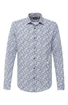 Мужская рубашка из хлопка и льна BOSS темно-синего цвета, арт. 50432619 | Фото 1