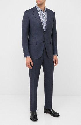 Мужская рубашка из хлопка и льна BOSS темно-синего цвета, арт. 50432619 | Фото 2