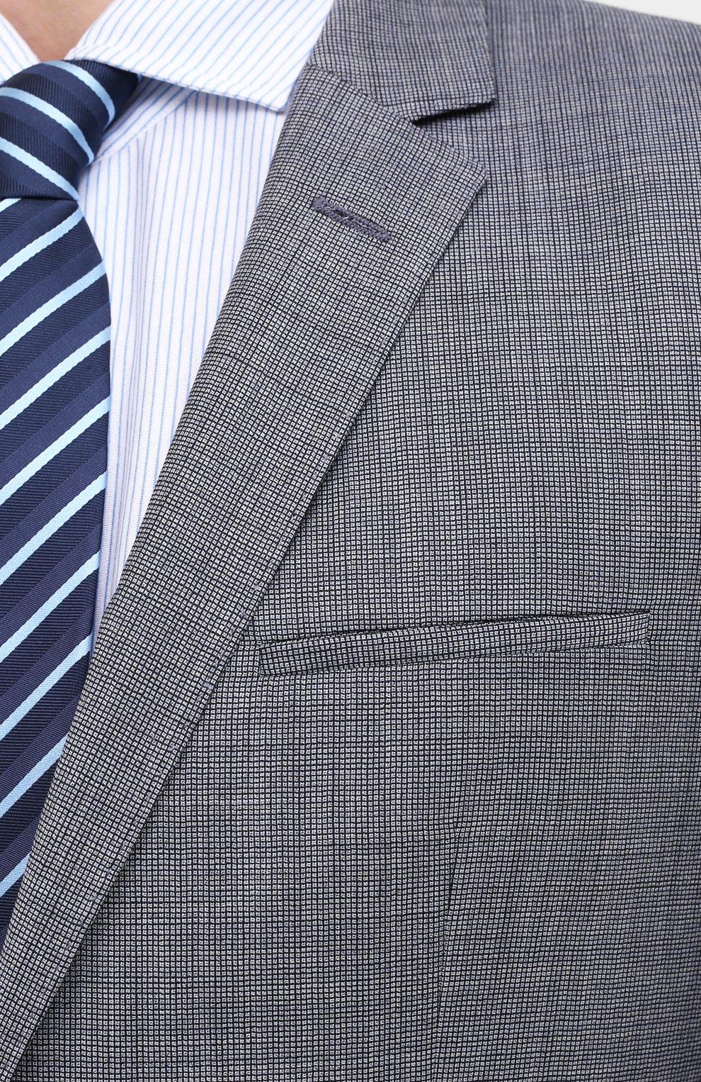 Мужской шерстяной костюм HUGO серого цвета, арт. 50433621 | Фото 6