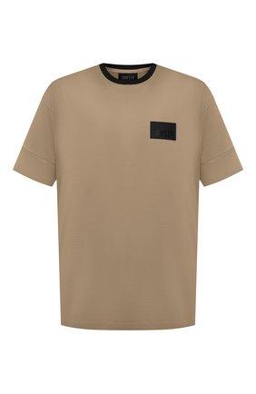 Мужская хлопковая футболка CROW'S EYE бежевого цвета, арт. LE 60 | Фото 1