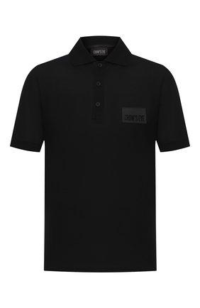 Мужское хлопковое поло CROW'S EYE черного цвета, арт. LE 64 | Фото 1