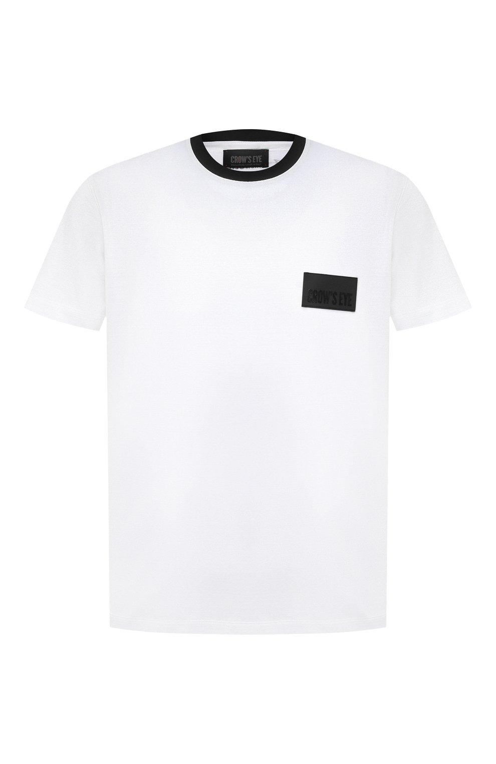 Мужская хлопковая футболка CROW'S EYE белого цвета, арт. LE 61   Фото 1 (Принт: Без принта; Рукава: Короткие; Длина (для топов): Стандартные; Мужское Кросс-КТ: Футболка-одежда; Материал внешний: Хлопок; Стили: Спорт-шик)