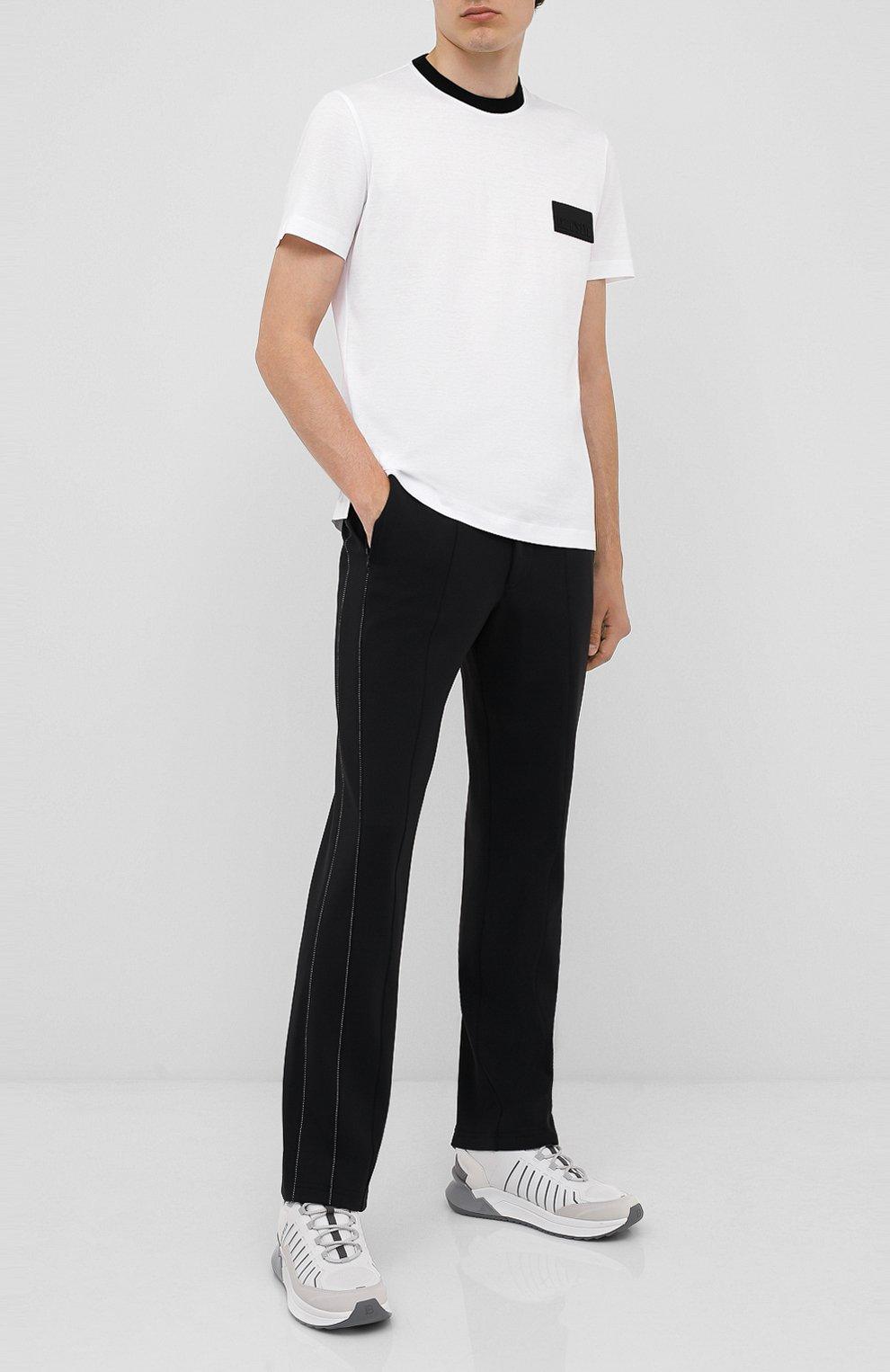 Мужская хлопковая футболка CROW'S EYE белого цвета, арт. LE 61   Фото 2 (Принт: Без принта; Рукава: Короткие; Длина (для топов): Стандартные; Мужское Кросс-КТ: Футболка-одежда; Материал внешний: Хлопок; Стили: Спорт-шик)
