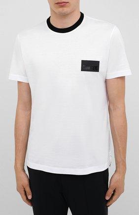 Мужская хлопковая футболка CROW'S EYE белого цвета, арт. LE 61   Фото 3 (Принт: Без принта; Рукава: Короткие; Длина (для топов): Стандартные; Мужское Кросс-КТ: Футболка-одежда; Материал внешний: Хлопок; Стили: Спорт-шик)
