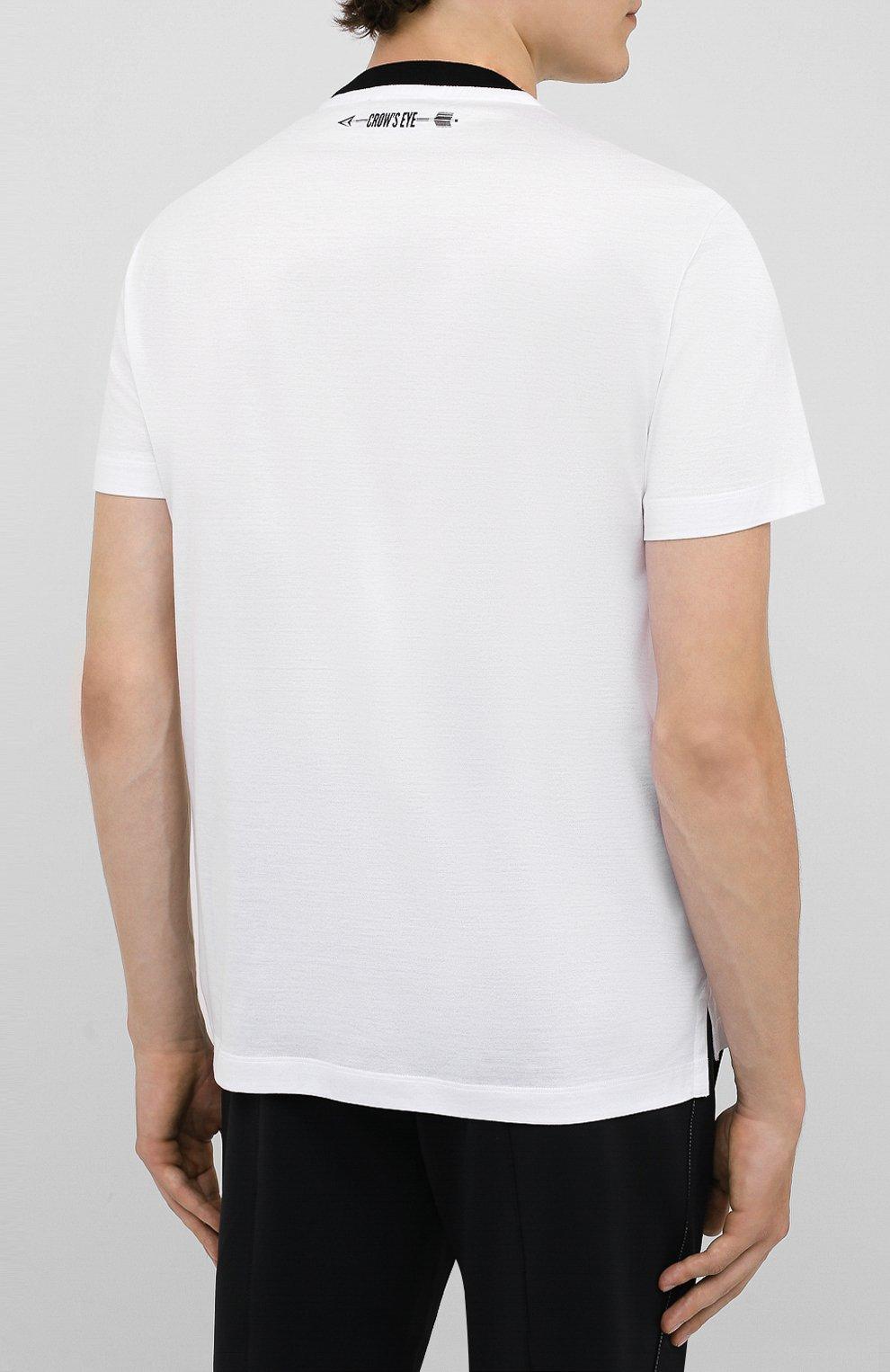 Мужская хлопковая футболка CROW'S EYE белого цвета, арт. LE 61   Фото 4 (Принт: Без принта; Рукава: Короткие; Длина (для топов): Стандартные; Мужское Кросс-КТ: Футболка-одежда; Материал внешний: Хлопок; Стили: Спорт-шик)