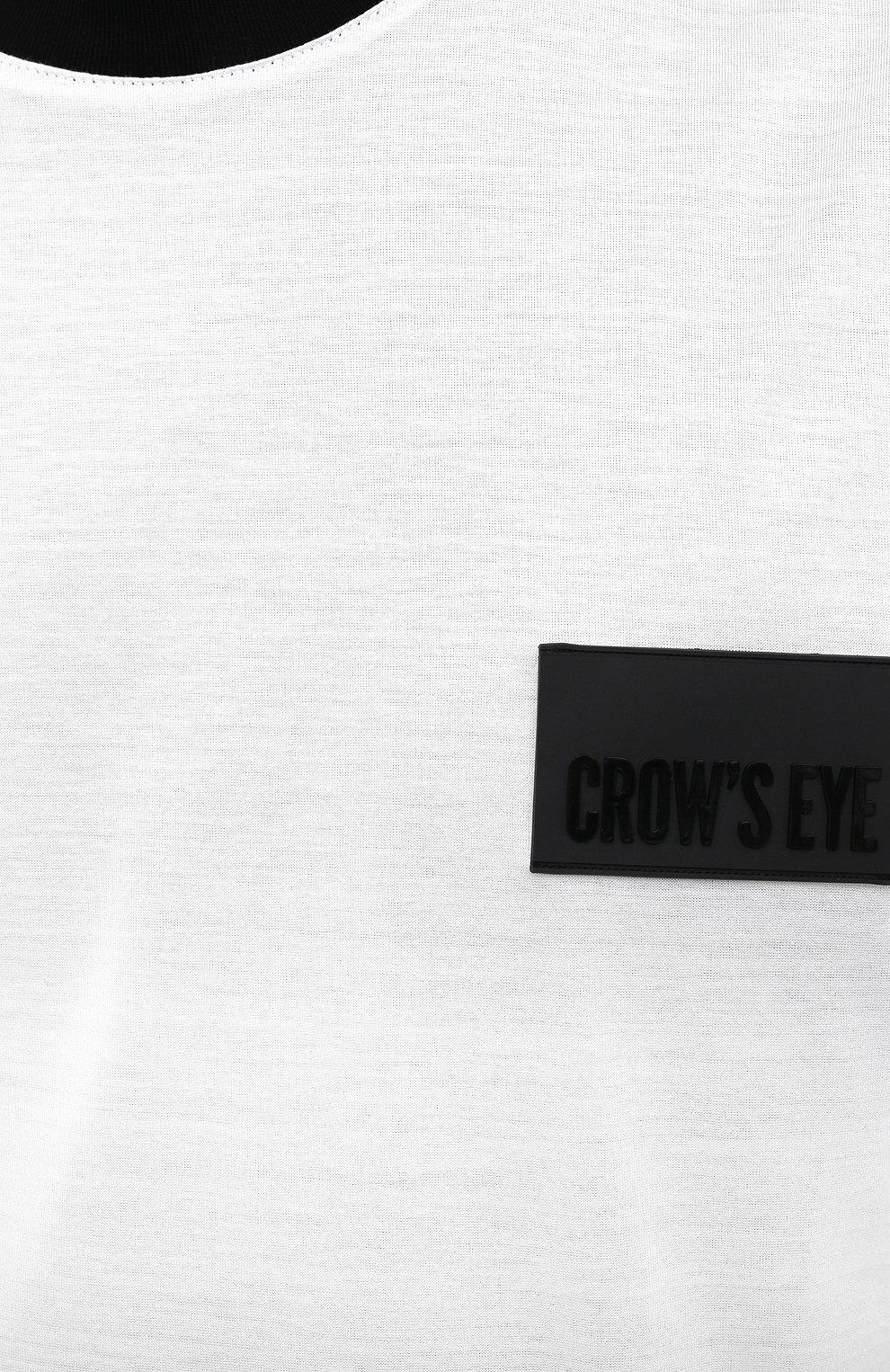 Мужская хлопковая футболка CROW'S EYE белого цвета, арт. LE 61   Фото 5 (Принт: Без принта; Рукава: Короткие; Длина (для топов): Стандартные; Мужское Кросс-КТ: Футболка-одежда; Материал внешний: Хлопок; Стили: Спорт-шик)