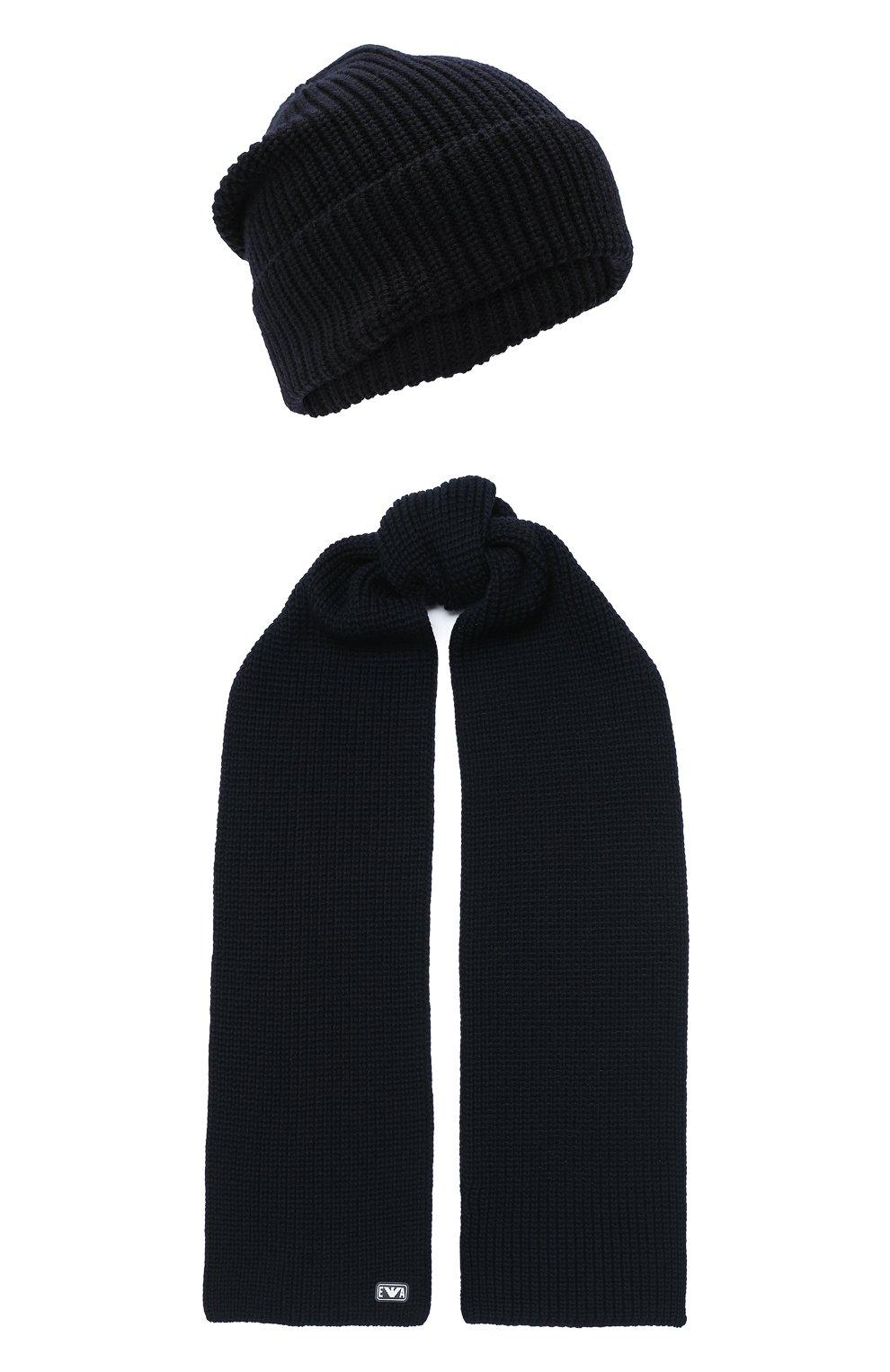 Детский комплект из шапки и шарфа EMPORIO ARMANI темно-синего цвета, арт. 407511/0A759 | Фото 1 (Материал: Шерсть)