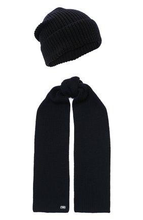 Детский комплект из шапки и шарфа EMPORIO ARMANI темно-синего цвета, арт. 407511/0A759 | Фото 1