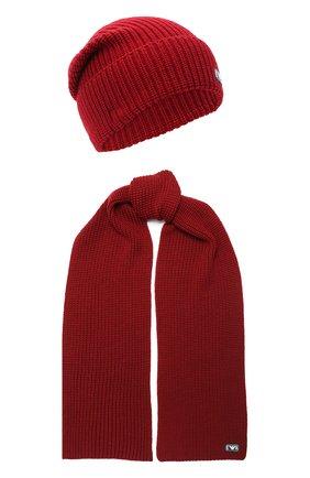 Детский комплект из шапки и шарфа EMPORIO ARMANI красного цвета, арт. 407511/0A759 | Фото 1