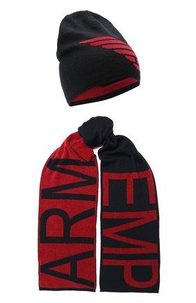 Детский комплект из шапки и шарфа EMPORIO ARMANI красного цвета, арт. 407510/0A758 | Фото 1