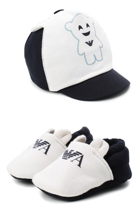 Детский комплект из шапки и пинеток EMPORIO ARMANI синего цвета, арт. 407133/0A740 | Фото 1