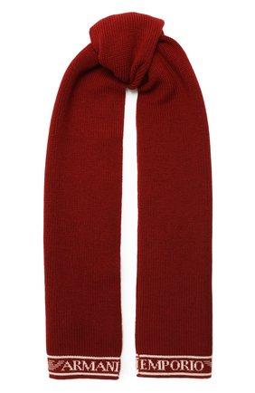 Детский шерстяной шарф EMPORIO ARMANI красного цвета, арт. 404617/0A466 | Фото 1