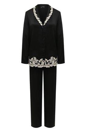 Женская шелковая пижама LA PERLA черно-белого цвета, арт. 0051240 | Фото 1