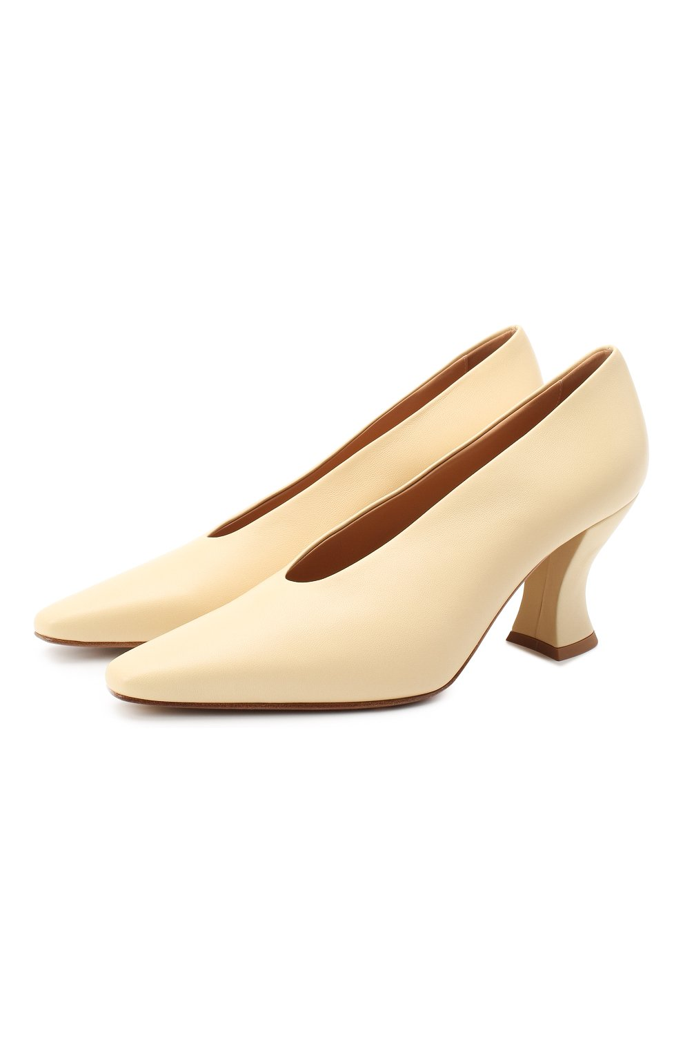 Женские кожаные туфли almond BOTTEGA VENETA светло-бежевого цвета, арт. 608839/VBSD0 | Фото 1