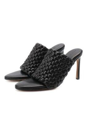 Женские кожаные мюли bv curve BOTTEGA VENETA черного цвета, арт. 621340/VBTG0 | Фото 1