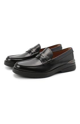 Мужские кожаные пенни-лоферы BOSS черного цвета, арт. 50432526 | Фото 1