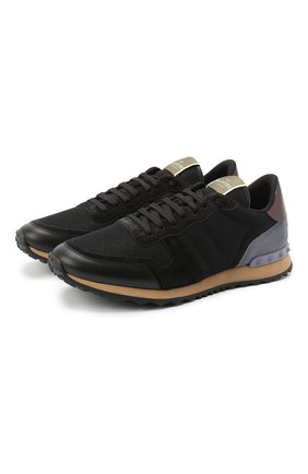 Мужские комбинированные кроссовки valentino garavani rockrunner VALENTINO черного цвета, арт. UY2S0723/TCV | Фото 1