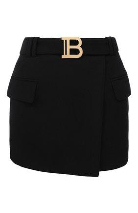 Женская шерстяная юбка BALMAIN черного цвета, арт. UF14014/167L | Фото 1