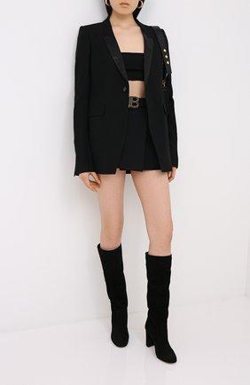 Женская шерстяная юбка BALMAIN черного цвета, арт. UF14014/167L | Фото 2