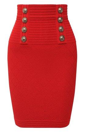 Женская юбка из вискозы BALMAIN красного цвета, арт. UF14311/K110 | Фото 1