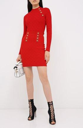 Женская юбка из вискозы BALMAIN красного цвета, арт. UF14311/K110 | Фото 2