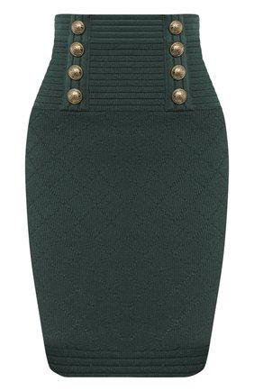 Женская юбка из вискозы BALMAIN зеленого цвета, арт. UF14311/K110   Фото 1