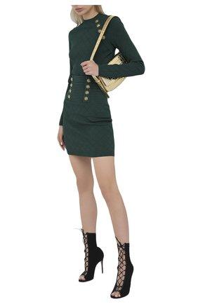 Женская юбка из вискозы BALMAIN зеленого цвета, арт. UF14311/K110   Фото 2