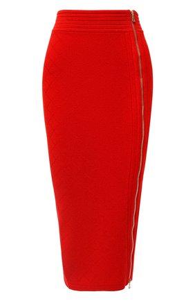 Женская юбка из вискозы BALMAIN красного цвета, арт. UF14478/K110 | Фото 1