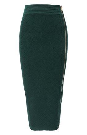 Женская юбка из вискозы BALMAIN зеленого цвета, арт. UF14478/K110   Фото 1
