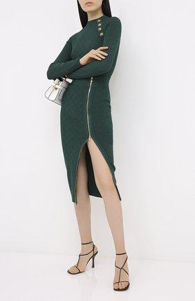 Женская юбка из вискозы BALMAIN зеленого цвета, арт. UF14478/K110   Фото 2