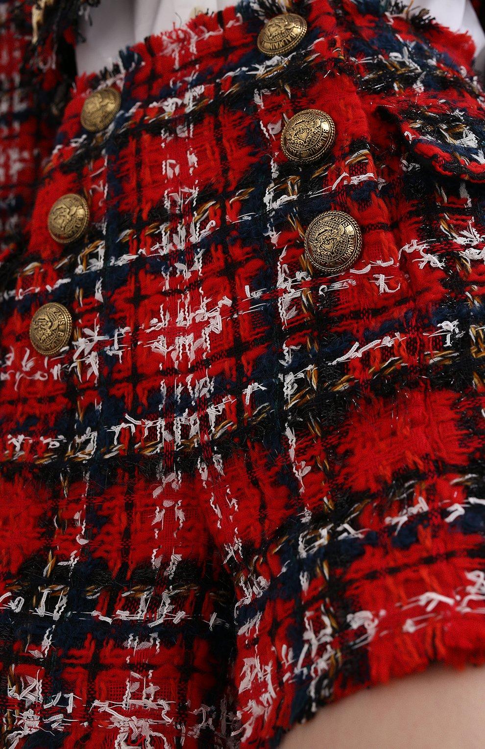 Женские шорты BALMAIN красного цвета, арт. UF15002/W076   Фото 5 (Женское Кросс-КТ: Шорты-одежда; Материал внешний: Шерсть; Длина Ж (юбки, платья, шорты): Мини; Стили: Преппи, Кэжуэл; Материал подклада: Вискоза)