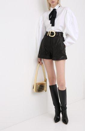 Женские кожаные шорты BALMAIN черного цвета, арт. UF15817/L025 | Фото 2