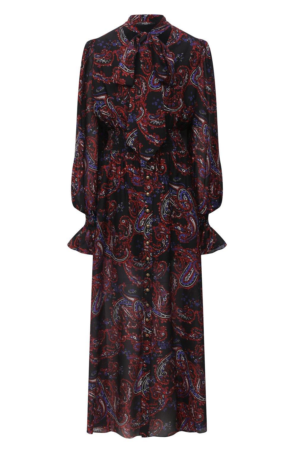 Женское шелковое платье BALMAIN разноцветного цвета, арт. UF16891/I518   Фото 1