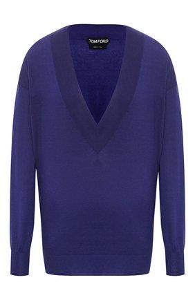 Женская пуловер из кашемира и шелка TOM FORD синего цвета, арт. MAK912-YAX087 | Фото 1