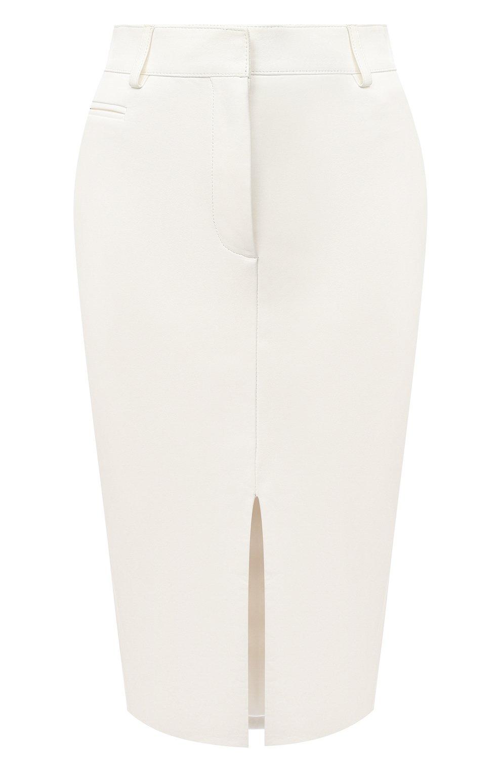 Женская кожаная юбка TOM FORD белого цвета, арт. GCL804-LEX228   Фото 1