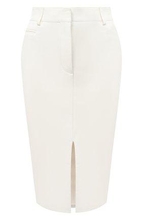 Женская кожаная юбка TOM FORD белого цвета, арт. GCL804-LEX228 | Фото 1